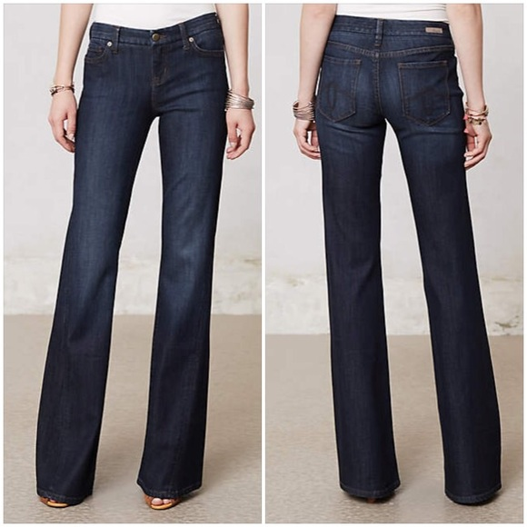 SALELevel 99 Newport Wide Leg Dark Blue Jeans