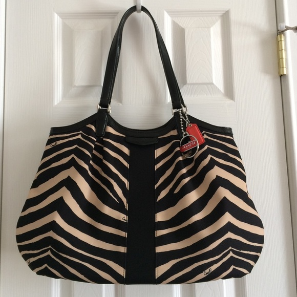 Coach Bags - Signature Stripe Zebra Print 'Devin' Shoulder Bag
