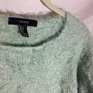 Super Fuzzy Blue-Green Crop Sweater 