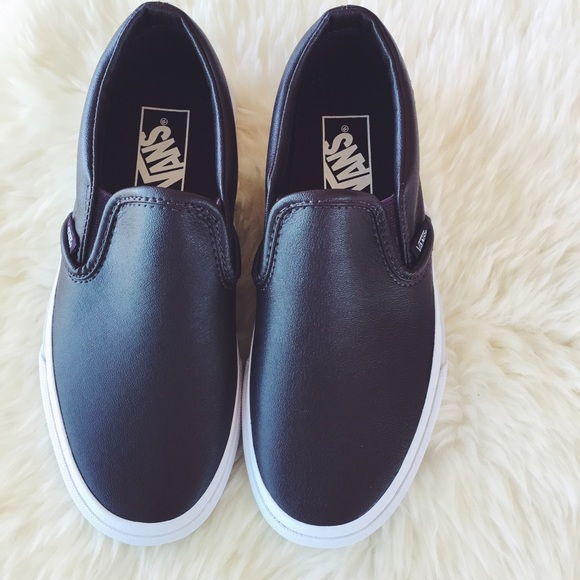 61b5a10737 Vans Oxblood Leather Slip Ons