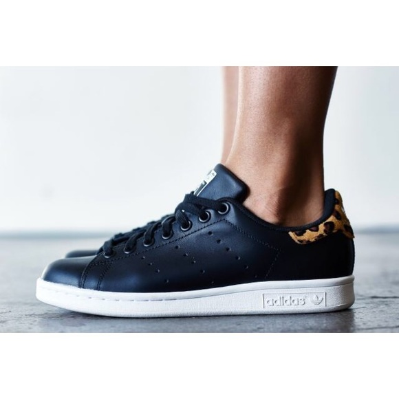 Stan Smith Black Leather + Leopard Print Sneakers
