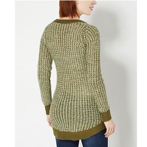 Poof! Sweaters - Green Vneck Waffle Knit Cozy Oversize Sweater 🆕