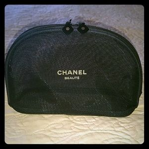 CHANEL Other - Medium Chanel black mesh Makeup case bag pouch