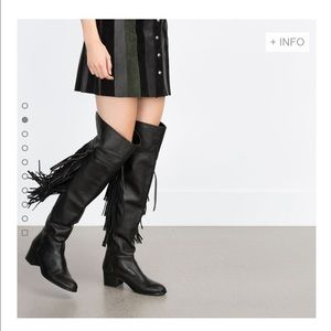 Zara Leather Fringe Boots