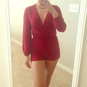 Charlotte Russe Pants - Burgundy red romper XS playsuit