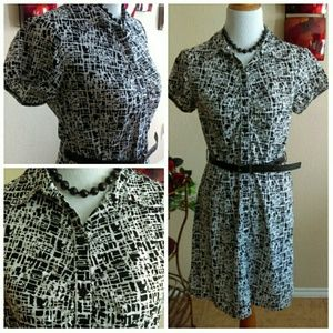 AB Studio Dresses & Skirts - Black and White Graphic Geo Shirt Dress