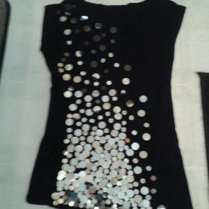Fancy black sleeveless t shirt sz M