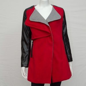 Wool Blend Leather Sleeve Coat
