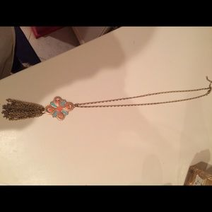 GUC orange/blue pendant necklace with gold tassels
