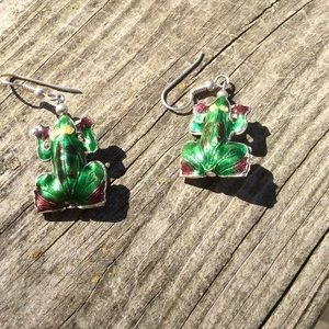 Vintage Jewelry - Cloisonné Frog Earrings