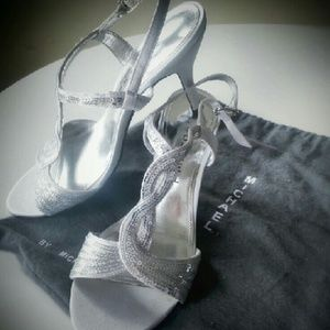 Silver sequin & satin Heels