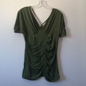 Tops - Olive V Neck Blouse ( Size Medium)