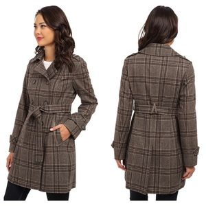 dkny double breasted menswear plaid trench-coat 4