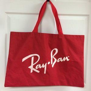 Ray-Ban Handbags - HUGE Ray Ban Red White Logo Tote Bag Beach Purse