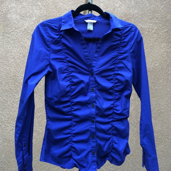 80% off H&M Tops - H&M Royal Blue Fitted Scrunch Button Down Shirt ...