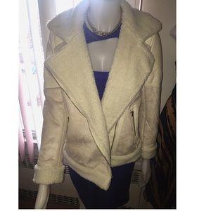 Makemechic Jackets & Blazers - Biege long sleeve faux fur lapel outwear jacket