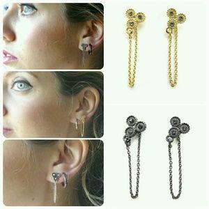Sunahara Jewelry Jewelry - 16K Gold/Gun Metal/Silver Stone Chain Drop Earring