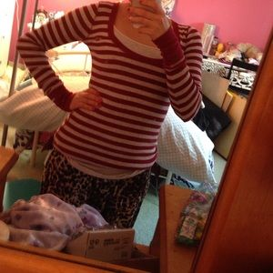 Hollister red and grey striped top
