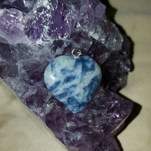 Jewelry - Heart pendant, blur marbled natural stone