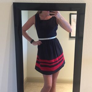 Navy blue with red stripes dress