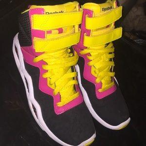 1a704c0be0c Women s Black And White Yellow Reebok Sneakers on Poshmark