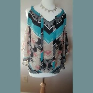A.n.a. Geometric Pattern  Off the Shoulder Blouse