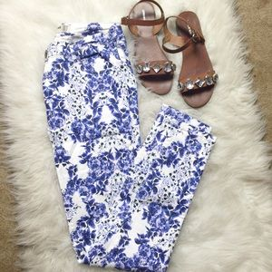 Cotton On Pants - White Skinny Jeans with Cobalt Floral Print