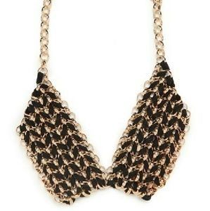 Bauble Bar Jewelry - BAUBLEBAR Chain link and suede statement necklace