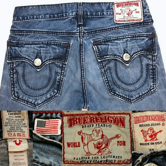 095a7f3f55a Mens True Religion Ricky Giant Big T jeans 33x30. M 56c50c4d4e95a30028001dd3