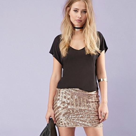 f1701f15 Forever 21 Skirts   Nwt Forever21 Rose Gold Sequin Mini Skirt   Poshmark