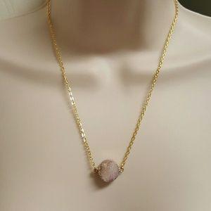 Jewelry - 💟Rose Quartz druzy necklace💟