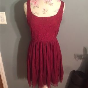 red altar'd state lace dress, size medium