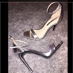 cd4c578e8ad Zara Shoes - Zara silver ankle strap heels size 8