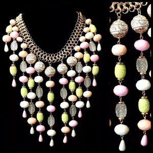 Custom Jewelry - D30 Romantic Ornate Pastel Pink Bead Necklace