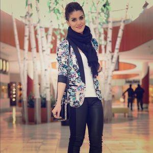 Lauren Conrad Blazer Jacket Tuxedo Floral