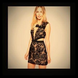 Asos Style Stalker Mini Dress Cut Out Lace Black S