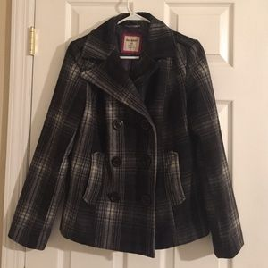 Short plaid peacoat