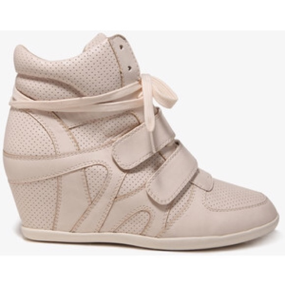 61% off Forever 21 Shoes - Beige Perforated Wedge Sneaker Heel ...