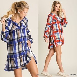 Tops - Plaid Button Down Tunic in BLUE OR ORANGE
