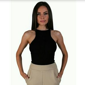 Atid Clothing Tops - Black Or White Rib Knit High Scoop Neck Tank Top