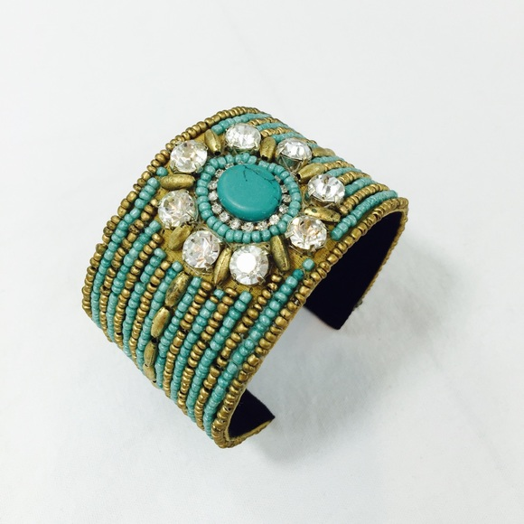 Turquoise seed bead wide Cuff Bracelet OS from Auralee ...