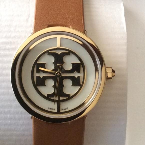 45fa7857a Tory Burch Accessories | Nwt Reva Watch Gold Tan Leather | Poshmark
