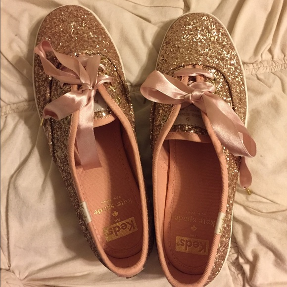 ea20d4b2514 Kate Spade Glitter Champion Keds in Rose Gold
