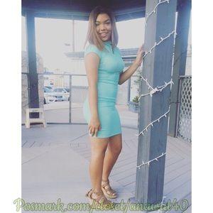 Dresses & Skirts - Cutout Back Mock Neck Cap Sleeve Dress HP