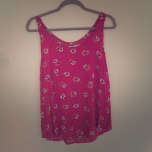 Old Navy Floral Pink Tank SZ L