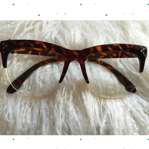 4b194db553 Accessories - Studded Half Frame Tortoise Shell Cat Eye Glasses