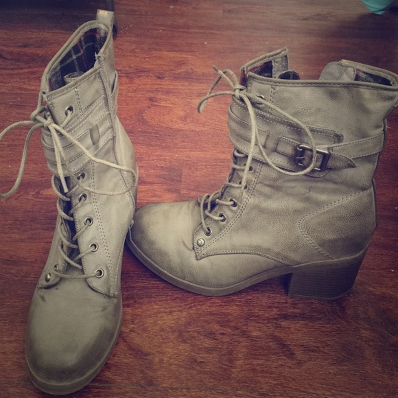 67% off Guess Shoes - GUESS, grey small heel combat boots from ...