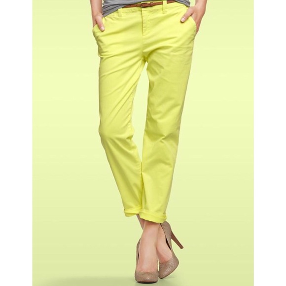 69% off GAP Pants - Gap Broken In Straight Neon Yellow Khakis from ...