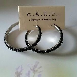 CAKE Jewelry - CAKE Silver plated black stones hoop earrings NWT