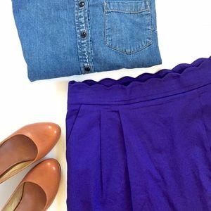 Purple pleated high waisted JCrew mini skirt
